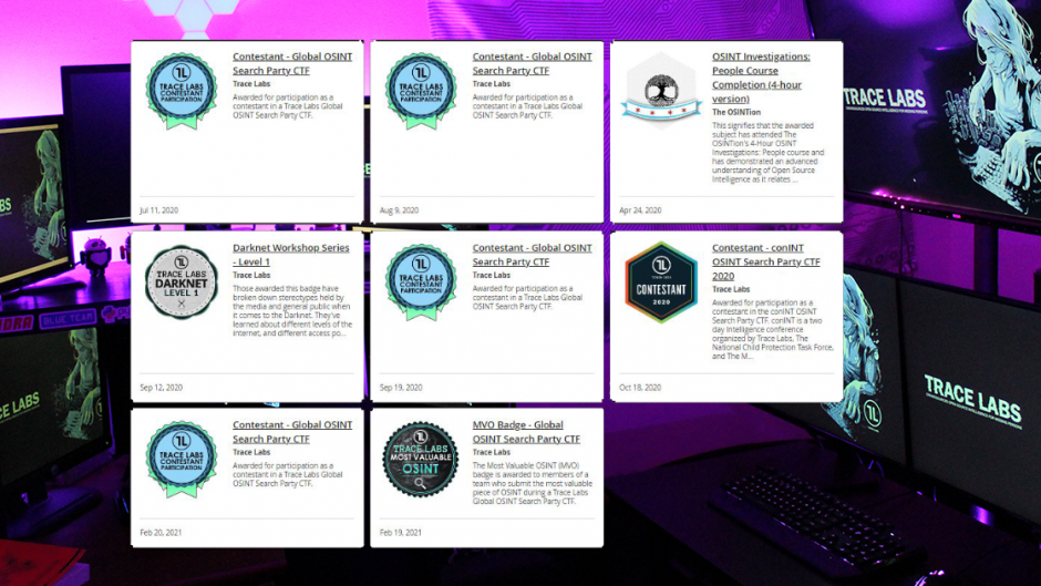 OSINT Blog Image of Home Lab and Trace Labs Badges